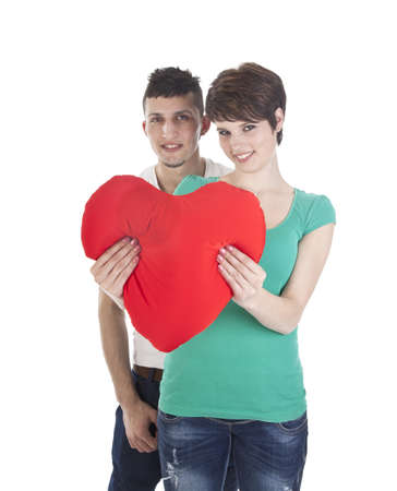 Man and woman with red heart photo