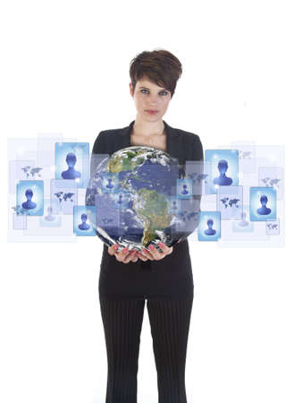 Young woman holding earth with social media symbols isolated on white.   photo