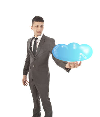 Young man holding cloud concept isolated on white background photo