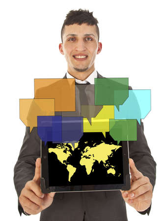 Young man holding tablet with online friends on world map Stock Photo - 19587845
