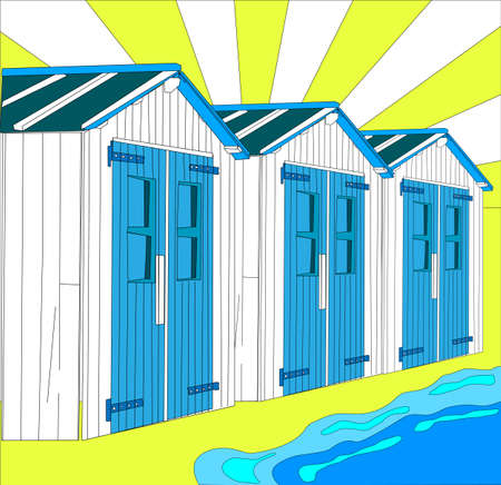wooden hut: illustration of dutch little houses on beach, The Netherlands