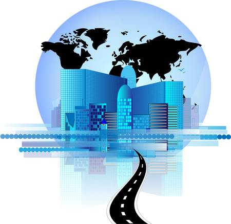 Blue office skyline with road and world globe Illustration