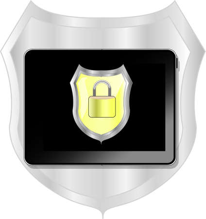 Black tablet pc with secure lock Vector