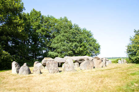 stoneage: Ancient dolmen of stones in The Netherlands Stock Photo