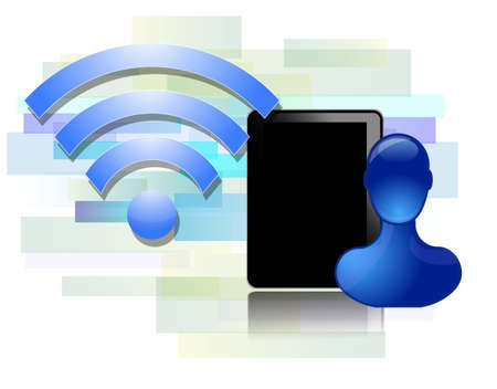 Wifi design with black tablet and blue person Stock Vector - 21214106