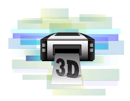 Illustration of printer making 3d products Stock Vector - 21214107