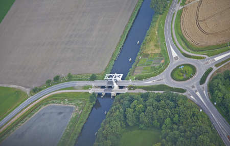 Farm landscape with little bridge from above, The Netherlands