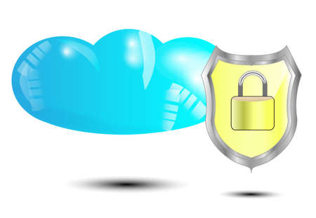 protected database: Blue cloud with yellow security lock isolated on white background