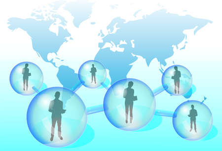 Illustration of business people with tablet in social network Illustration