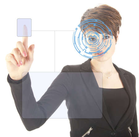 Young woman with security iris and fingerprint scan isolated on white background photo