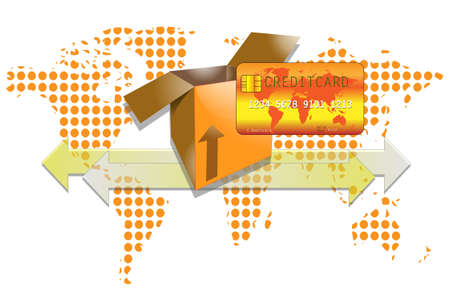 creditcard: Illustration of transport box with creditcard and world background