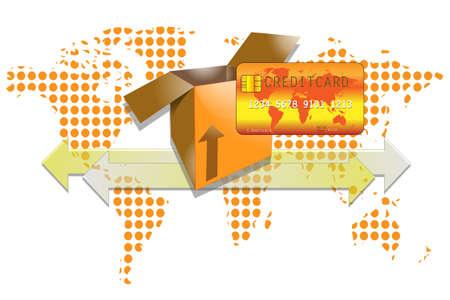 creditcard: Ilustraci�n de la caja de transporte con tarjeta de cr�dito y el fondo del mundo