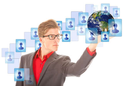 Young man with globe and virtual friends isolated on white. Elements of this image are furnished by NASA photo