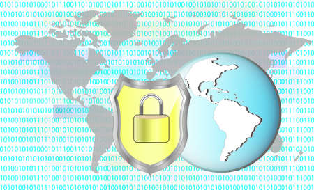 Illustration of protection cyber crime. Lock with earth. Elements of this image are furnished by NASA