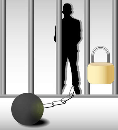 caught: Illustration of business man in prison isolated on white background