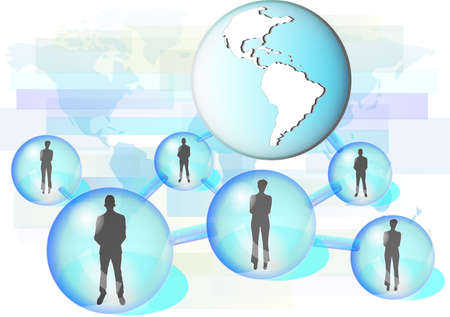 Illustration of business people connected in network with globe. Illustration