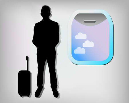 Illustration of business man with airplane window Vector