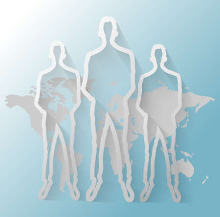 linkedin: Illustration of business men group with world map