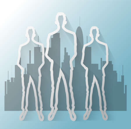 Illustration of business man with office buildings Vector