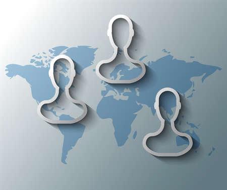linkedin: Illustration of group friends with world map Illustration