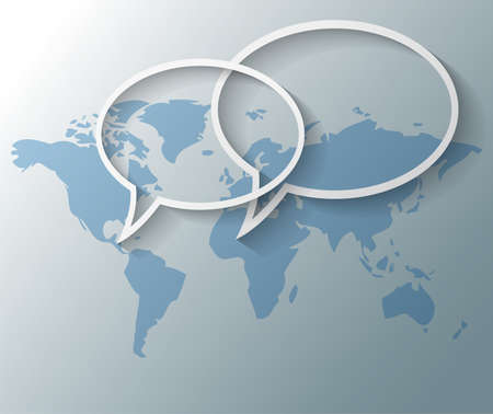 linkedin: Illustration of text balloons with world map background