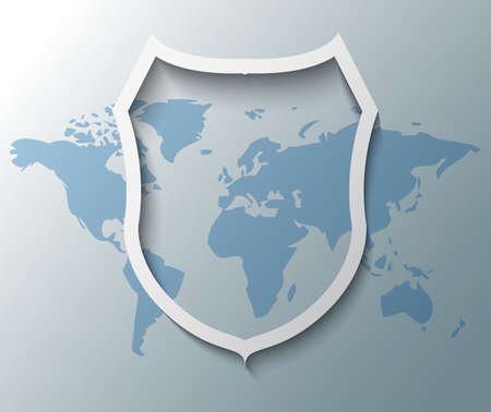 Illustration of shield sign with world map Vector