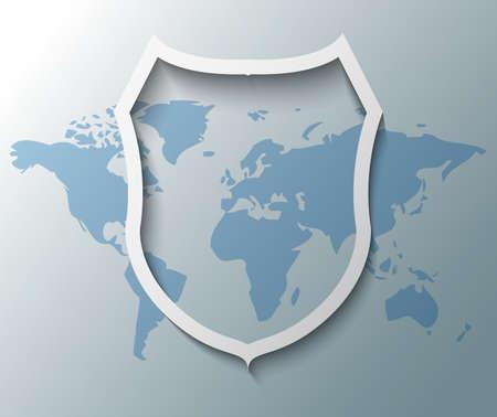 Illustration of shield sign with world map Illustration
