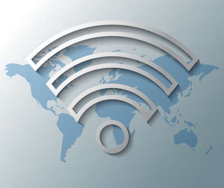 Illustration of wi-fi symbol with world map Vector