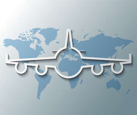 Illustration of plane with world background Vector