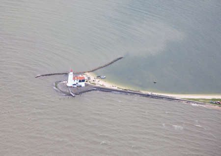 marken: Famous Dutch lighthouse at Marken, Netherlands from above