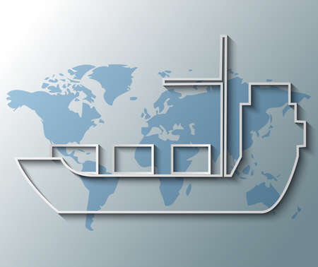 Illustration of container ship with world map background