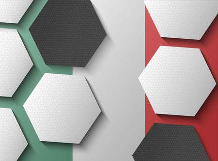 mexican flag: Illustrazione della bandiera messicana con elementi di calcio Vettoriali