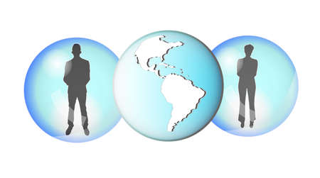 linkedin: Illustration of two business people connected with earth globe Illustration