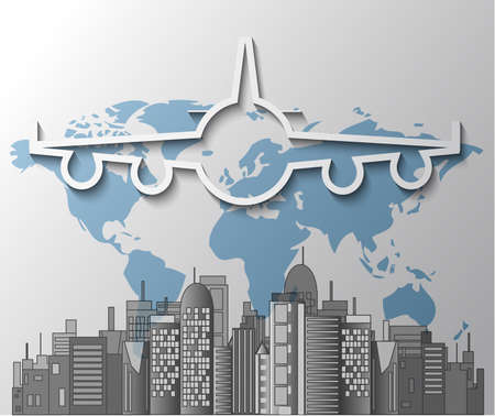 Illustration of airplane with city skyline on world map Vector