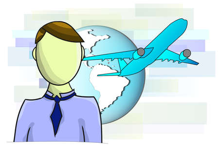 Illustrations of business man with airplane and globe Vector