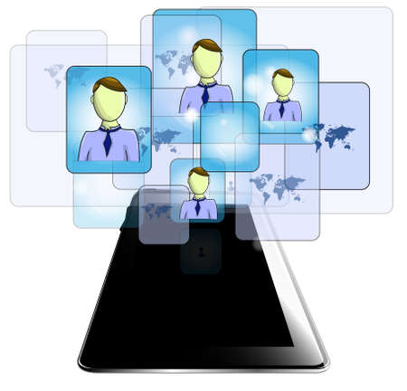 linkedin: Illustration of tablet with business people isolated on white background Illustration