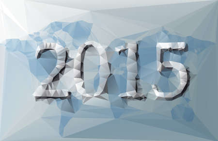worldwide wish: Polygonal illustration of 2015 with world map with blue and grey colors Illustration