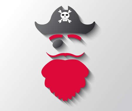 black hat: Ilustraci�n del pirata con la barba roja y sombrero negro