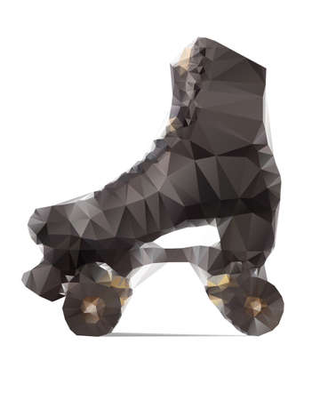 rollerskate: Polygonal illustration of black rollerskate isolated on white background Illustration
