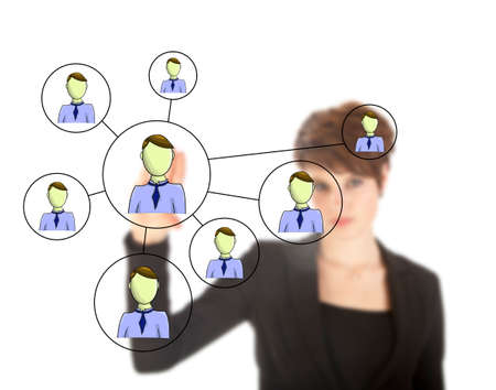 referrals: Businesswoman with online friends network isolated on white background
