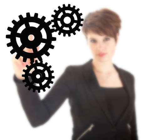 hands solution: Young businesswoman with black gears isolated on white background