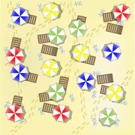 parasols: Illustration of beach from above with parasols and beds