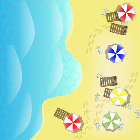 parasols: Illustration of beach from above with sea, parasols and beds