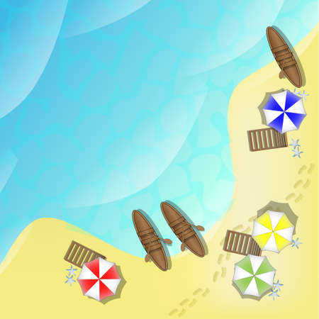 Illustration of beach with sea, boats and parasols Vector