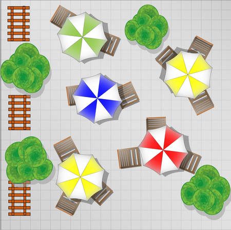 parasols: Illustration of square with chairs and parasols from above Illustration