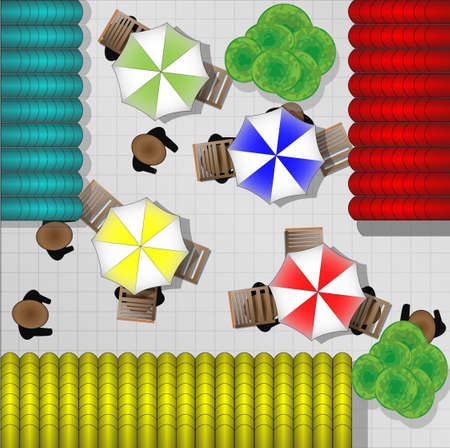 from above: Illustration of restaurants with chairs and parasols from above