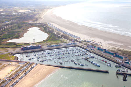 ijmuiden: Aerial view of yacht harbor with beach of IJmuiden, The Netherlands