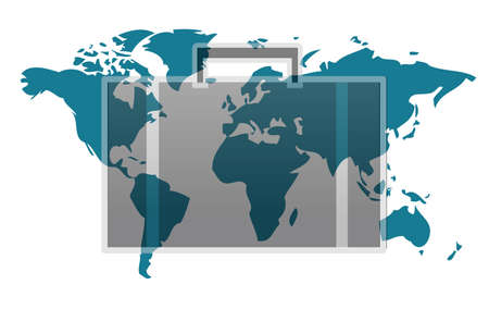 map case: World map with suitcase isolated on white background