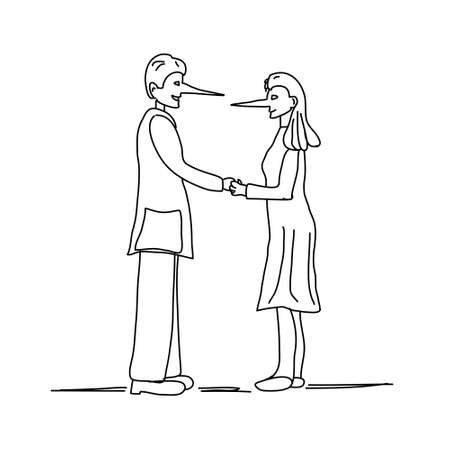 Ilustración de la joven pareja haciendo una mentira con la nariz larga aisladas sobre fondo blanco