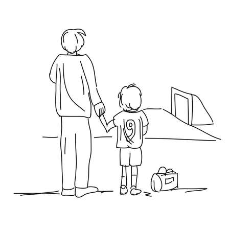 bringing: Illustration of dad bringing son to soccer isolated on white background